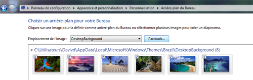 Menu fond d'écran de Windows seven