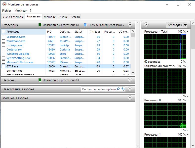 Fenêtre moniteur de ressources Windows