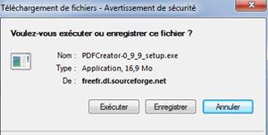 Téléchargement et exécution de pdfcreator